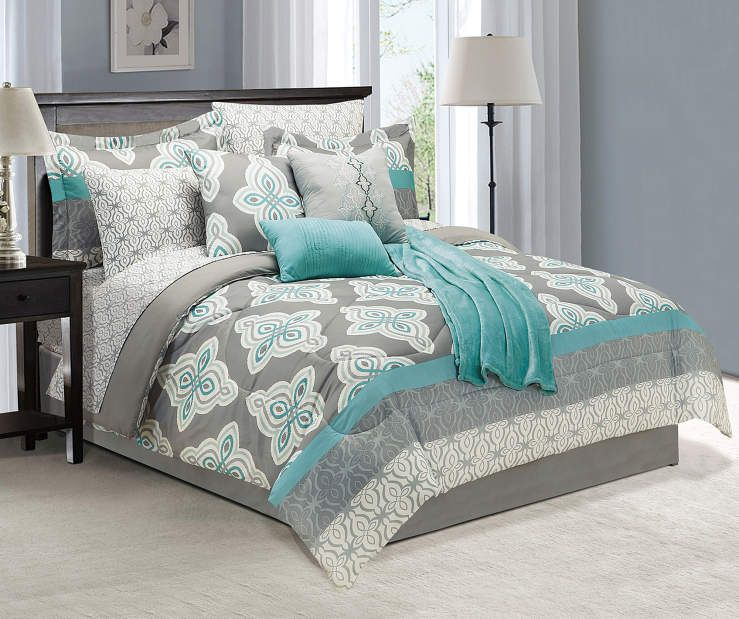 Living Colors Damask Tiles Gray Teal Cream 12 Piece Full