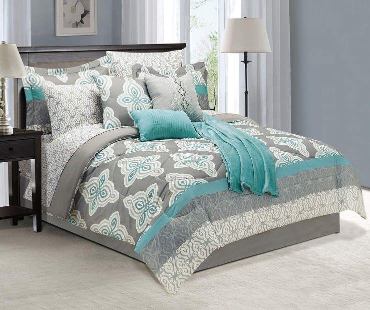 Living Colors Damask Tiles Gray Teal Cream 12 Piece Full Comforter Set Big Lots Comforter Sets Teal Bedding Grey Bedroom With Pop Of Color Teal and gray bedding sets