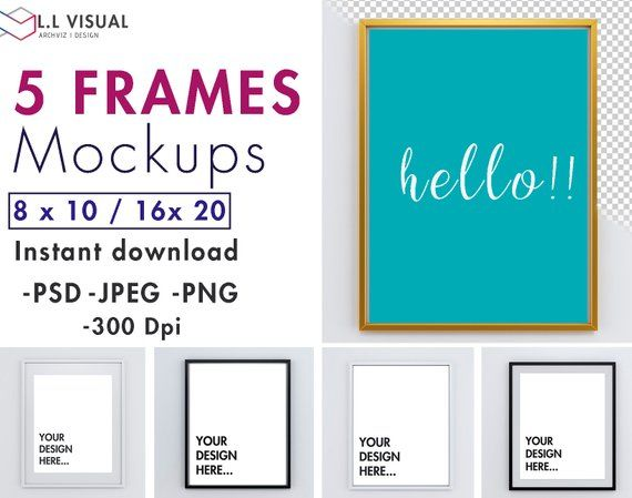 8 X 10 16 X 20 Vertical Frame Mockup Styled Stock Photography
