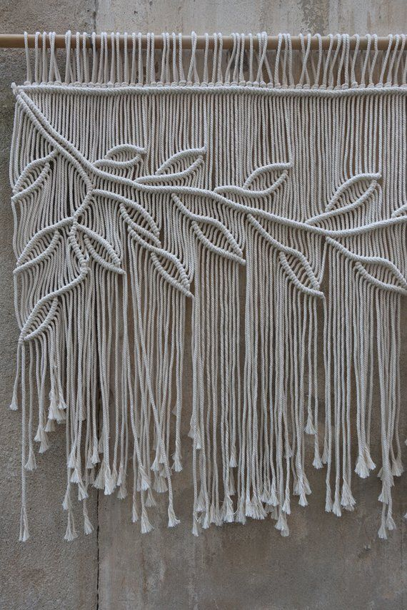 Macrame Curtain, Boho Wedding Backdrop, Entry Curtain, Large wall hanging, leaves wall decor #diywalldecor