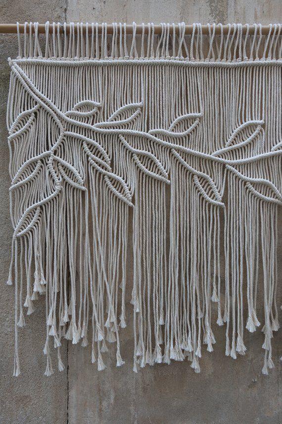 Macrame Curtain, Boho Wedding Backdrop, Entry Curtain, Large wall hanging, leaves wall decor