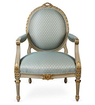 A Louis XVI fauteuil in pastel blue, common of Neo-Classical ...