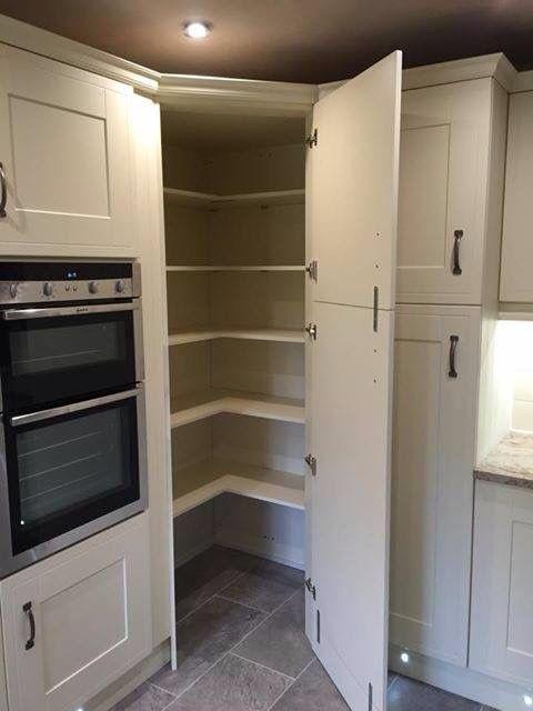 Brilliant kitchen storage idea... Walk in corner pantry ...