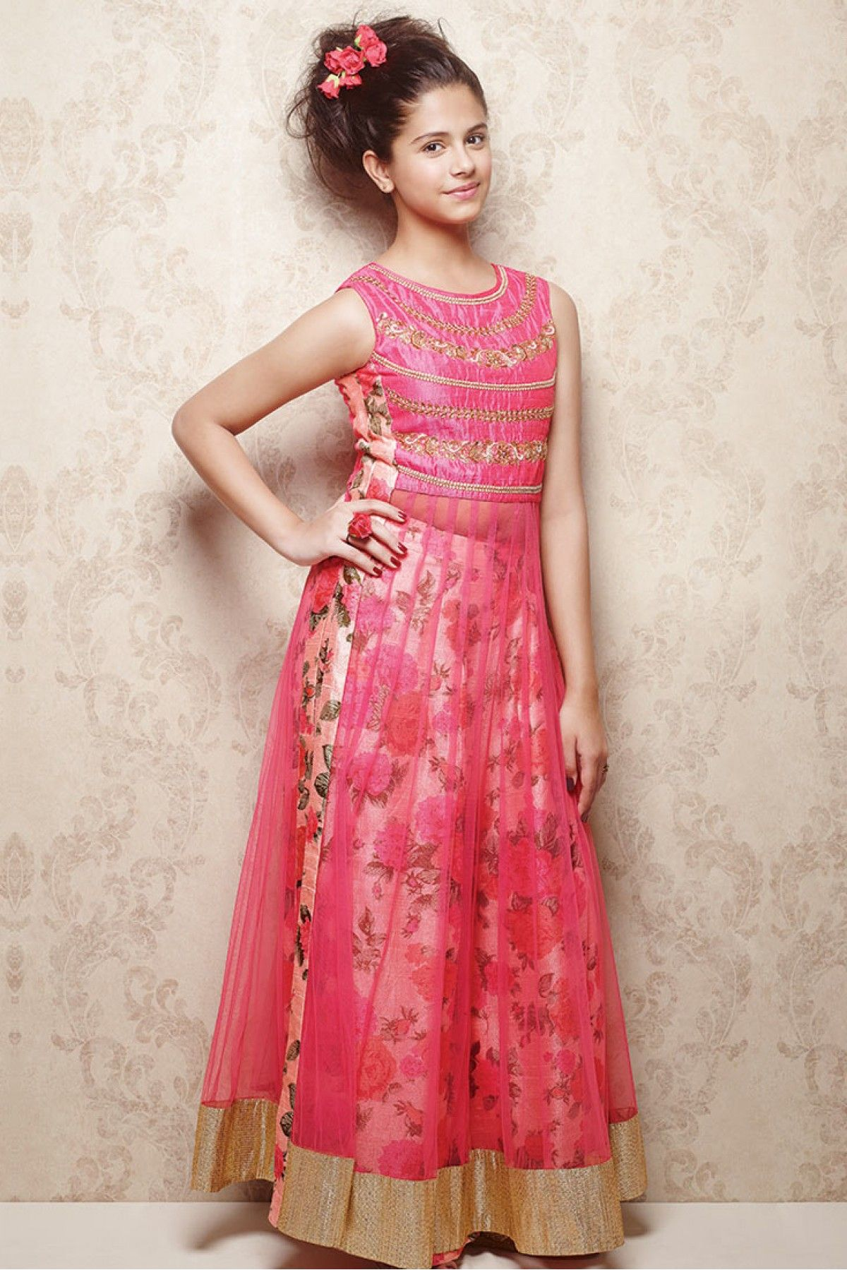 Banglori Silk and Net Party Wear Anarkali Suit in Pink