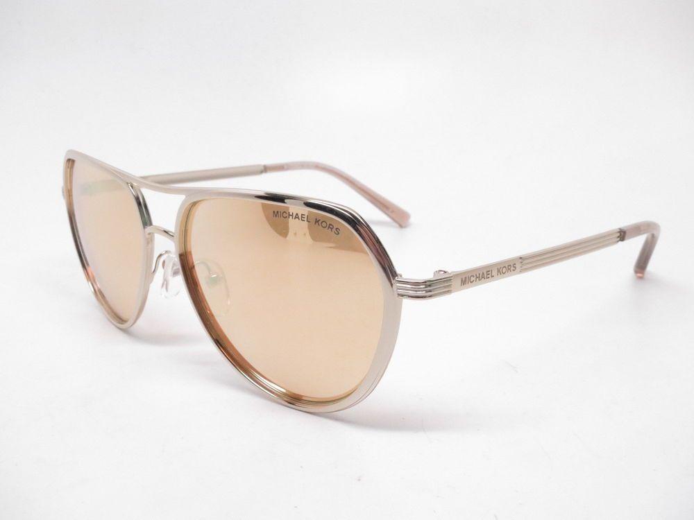 7b45107921d5b Michael Kors MK 1013 Audrina I 11196V Gold Silver w Silver Mirror  Sunglasses