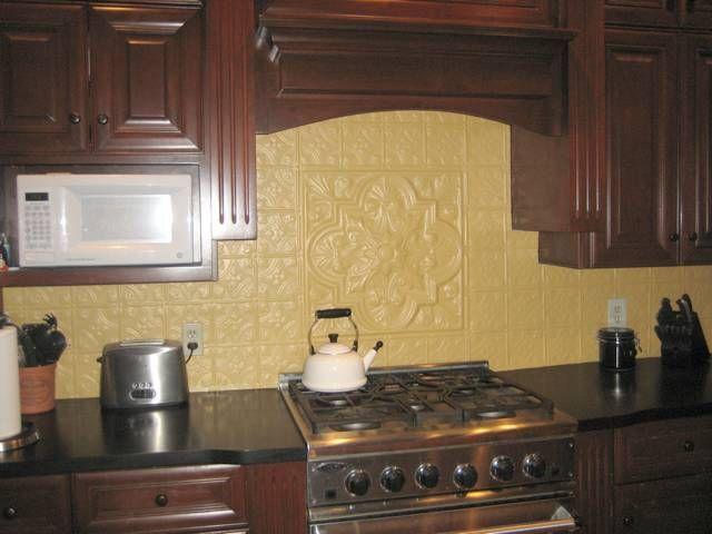 Painted tin tile backsplash kitchen tin ceiling tiles as for Tin ceiling tiles backsplash