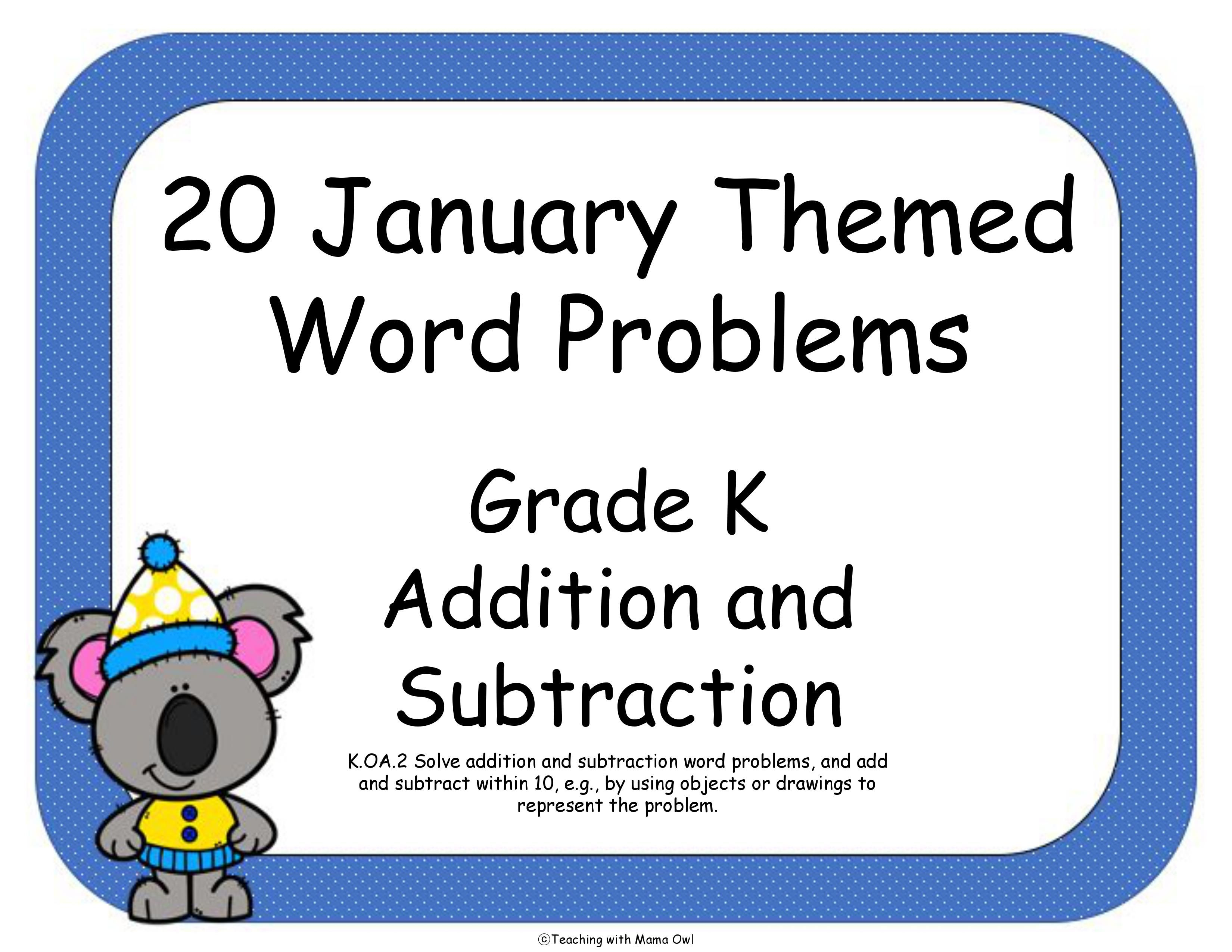 January Themed Word Problems