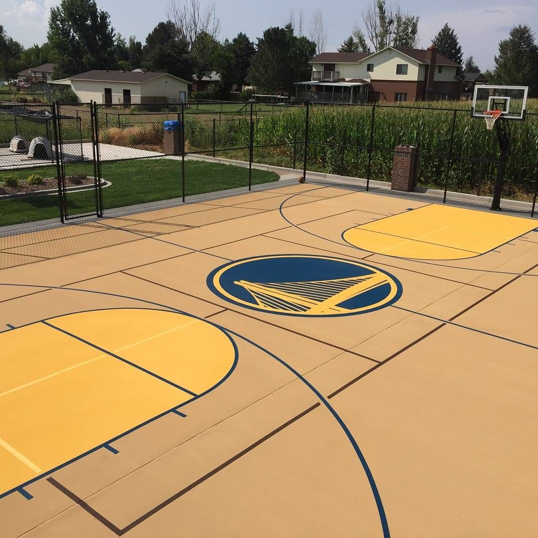 Basketball Court Surfaces With Custom Logo And Colors To Match Nba Golden State Warriors Nba Golden State Warriors Golden State Warriors Basketball Court