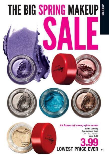 SPRING MAKEUP SALE!!  These prices are perfect for stocking up or replacing old makeup.  (SPRING Cleaning!).  Shop online @ kwissner.avonrepresentative.com #avon #spring #makeup #sale #outwiththeold #nails #nailpolish #gel #summer #manicure #springcleaning  #truecolor #color #shoponline #stockup #lips #lipstick #eyes