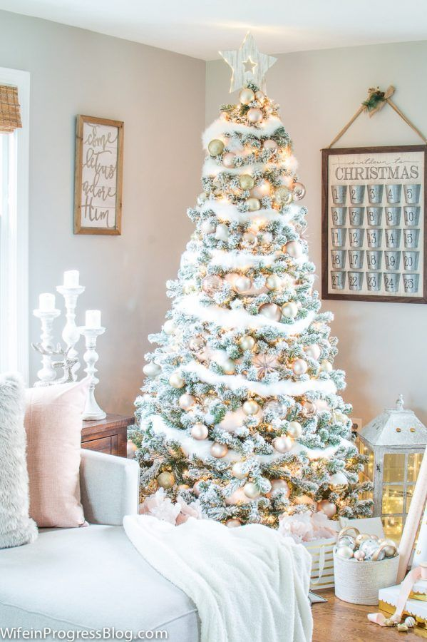 Christmas Decorating Ideas Blush Pink  Gold Christmas Tree Gold - white christmas tree decorations