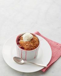 Berry fine, indeed: The jammy, intensely fruity base of this raspberry cobbler -- which packs in five whole cups of berries -- is balanced by a light, sweet biscuit topping.
