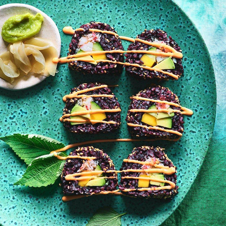 Insideout california rolls with mango spicy mayo recipe