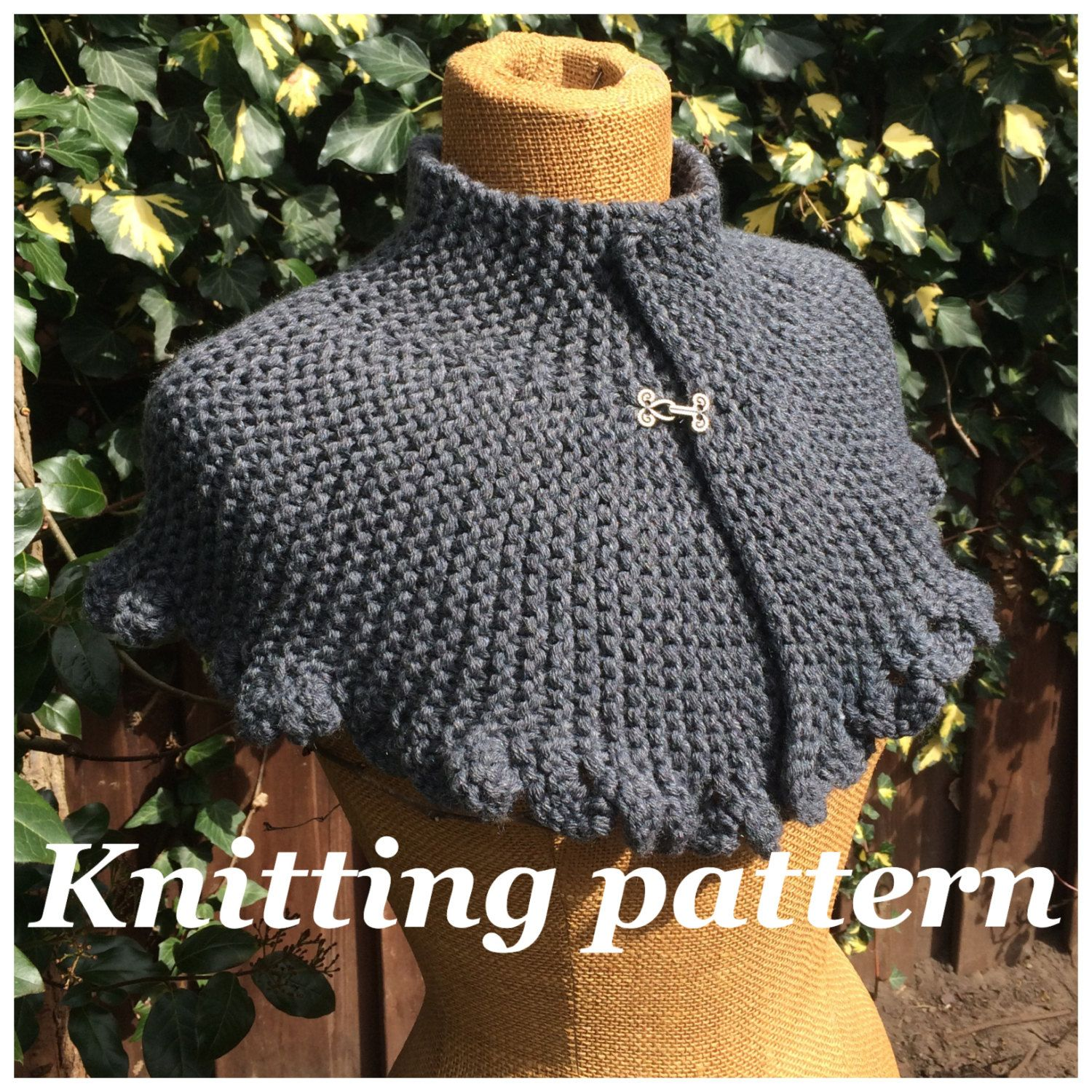 PDF knitting pattern Victoria capelet, knitted cape, easy shrug ...