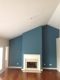teal blue accent wall. this color in the bathroom. | our first