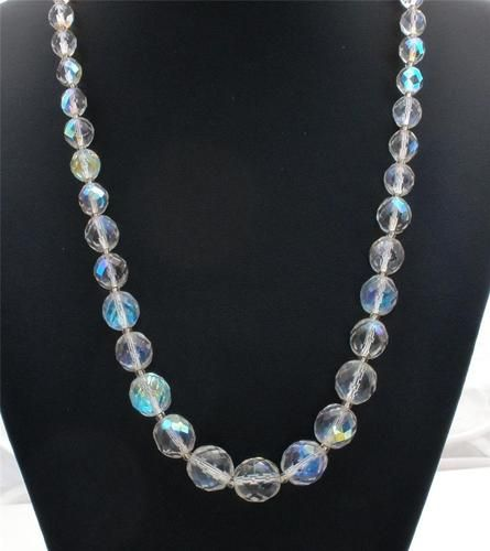 "Graduated Clear Crystal Quartz Faceted Bead 22"" Necklace Vintage Wedding Prom 