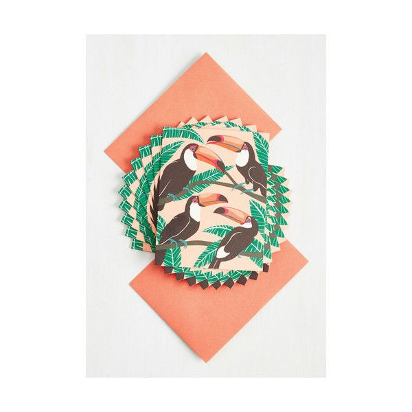 Vintage Inspired As Soon As Tropical Notecard Set ($15) ❤ liked on Polyvore featuring home, home decor, stationery, home accessory, multi and office