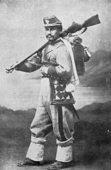 Soldado Regimiento Colorados de Bolivia.