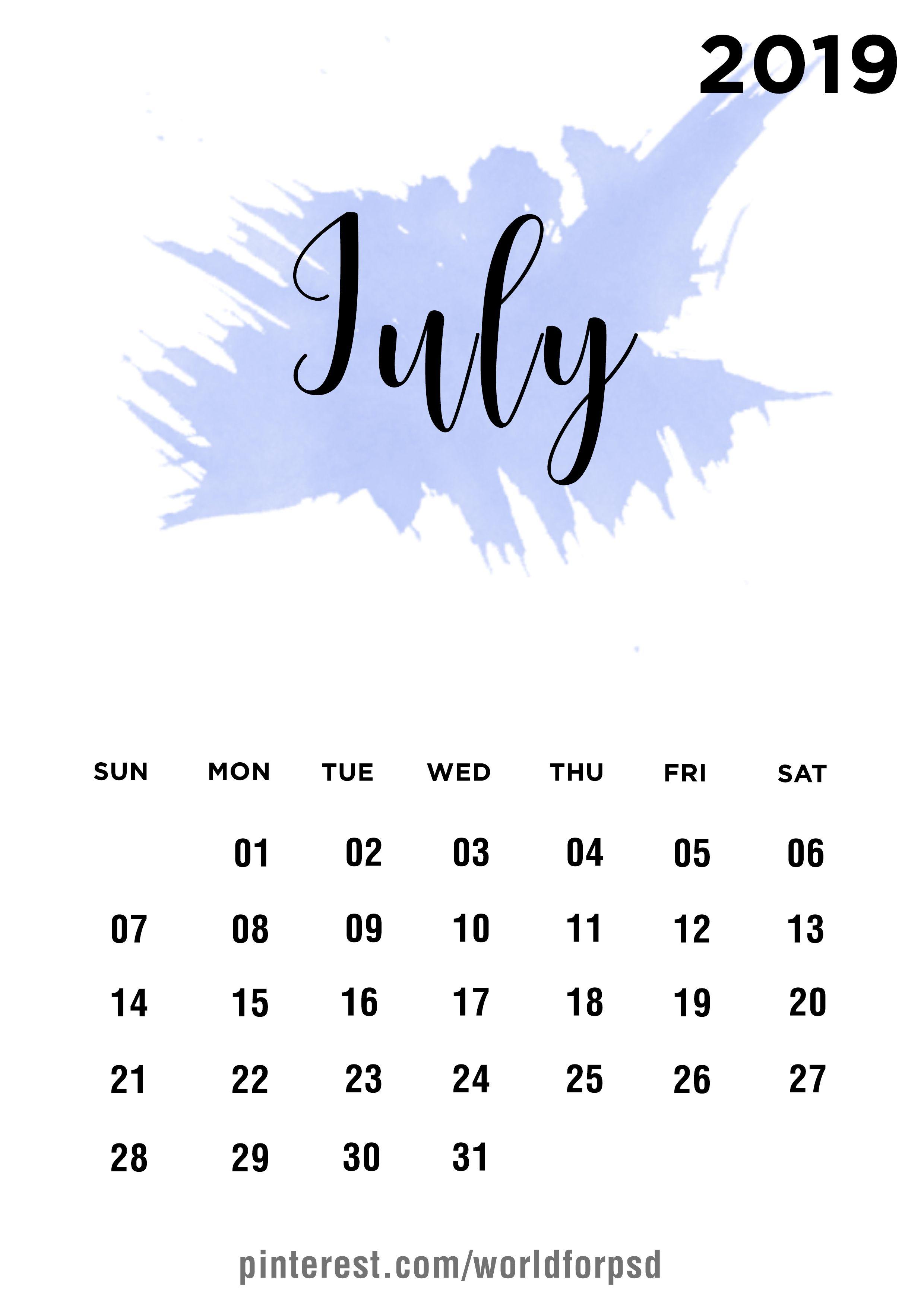 July 2019 Calendar Design Calendar Calendarideas Newyear