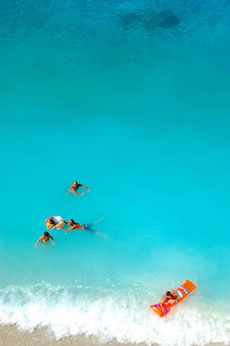 Swimming in the amazing turquoise waters of Porto Katsiki beach ~ Lefkada island, Greece