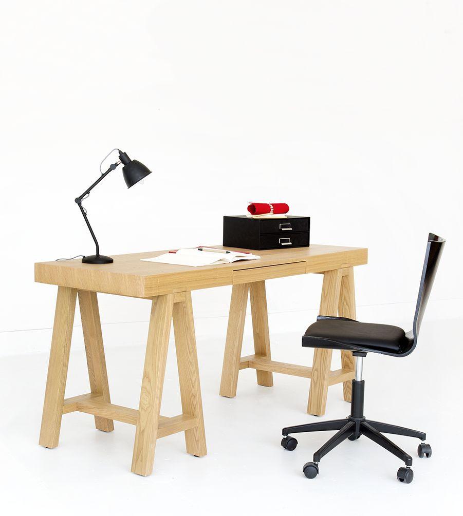 Gandhi Chaise De Bureau A Roulette Noire En Chene Chaise Bureau Bureau Bureau Bois
