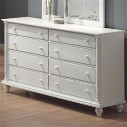 The Kayla Collection 8 Drawer Dresser White will add a cool casual style to your master bedroom. Simple country style makes this Kayla White Dresser special, with soft curves, turned posts, and simple wood knobs. Eight spacious drawers will meet all of your storage needs, with plenty of space for clothing and other bedroom essentials. Add the mirror above to create more light in your room.