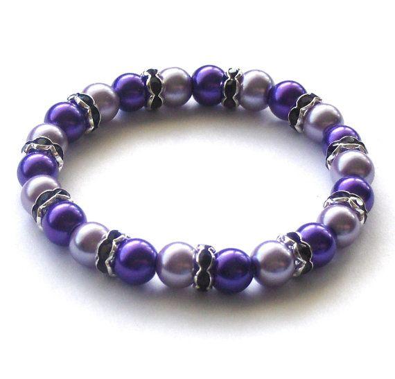 Purple Pearl Sparkle Bracelet by beadingshaz on Etsy, £6.50