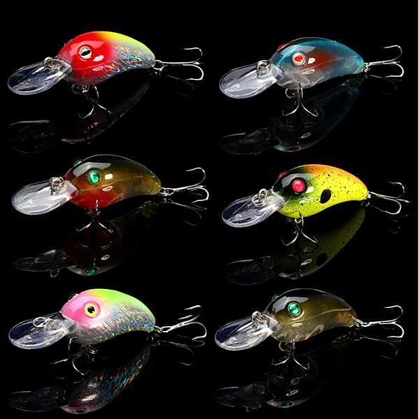 Lot 5Pcs Fishing Lures Kinds Of Crank Fish Bass Tackle Hooks Baits Crankbait