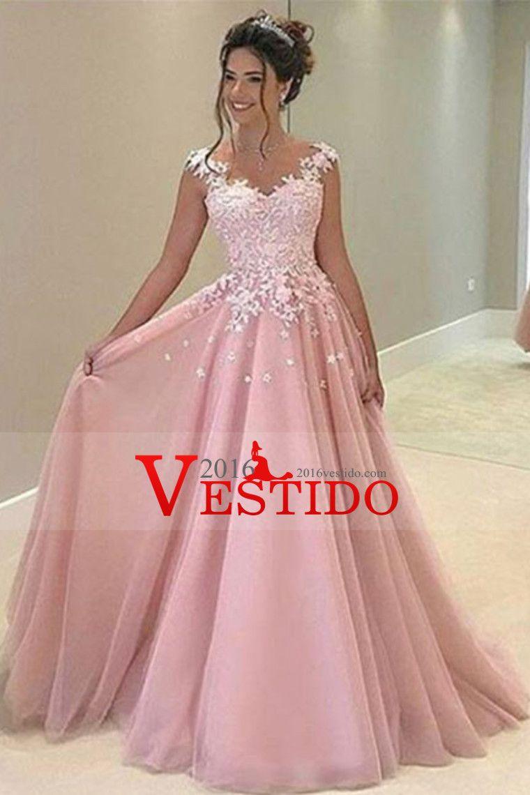 2017 Una línea muchacha de Tul Vestidos de baile de promoción con ...