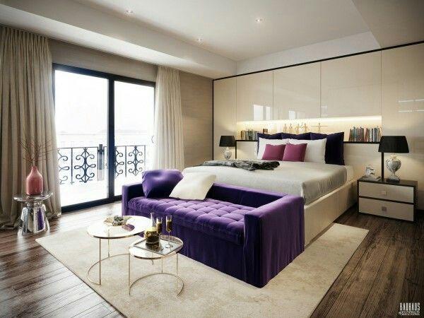 Violet accent in bedroom