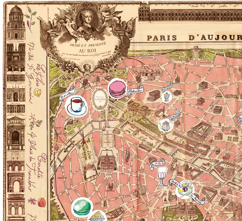 Illustrated Paris Map Poster Parisian Food Watercolor Etsy Paris Map Poster Vintage Paris Map Paris Map