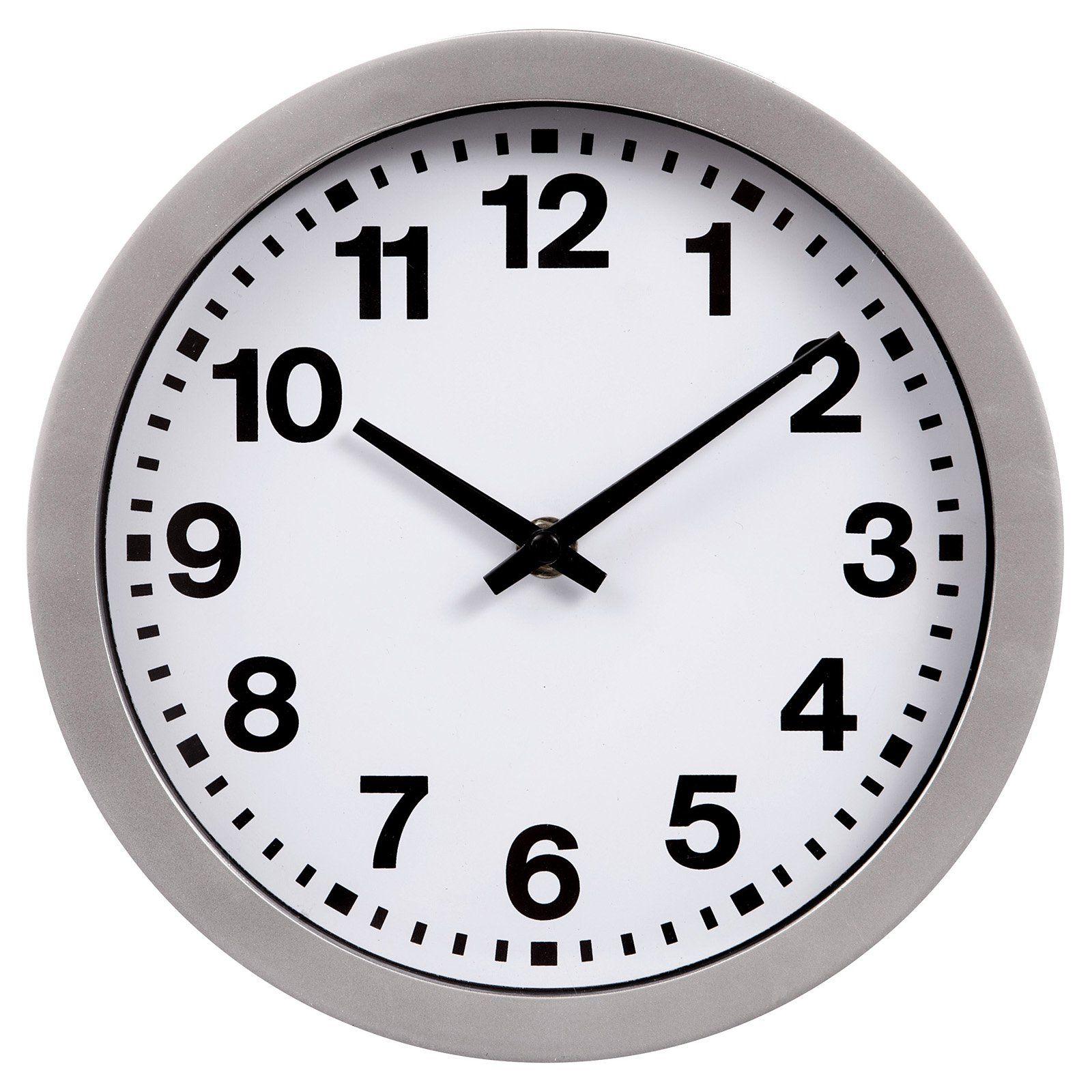 Nielsen Bainbridge 11 In Round White Wall Clock With Bold Numbers Gold Wall Clock Silver Wall Clock White Wall Clocks