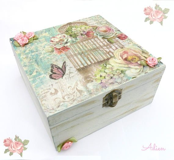 Wooden Craft Boxes To Decorate Best Vintage Birdcage Wooden Box Decorated Box Gift Idea For Her Decorating Design
