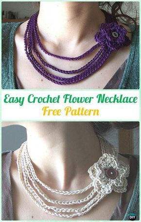 Easy Crochet Flower Necklace Free Pattern Crochet Jewelry