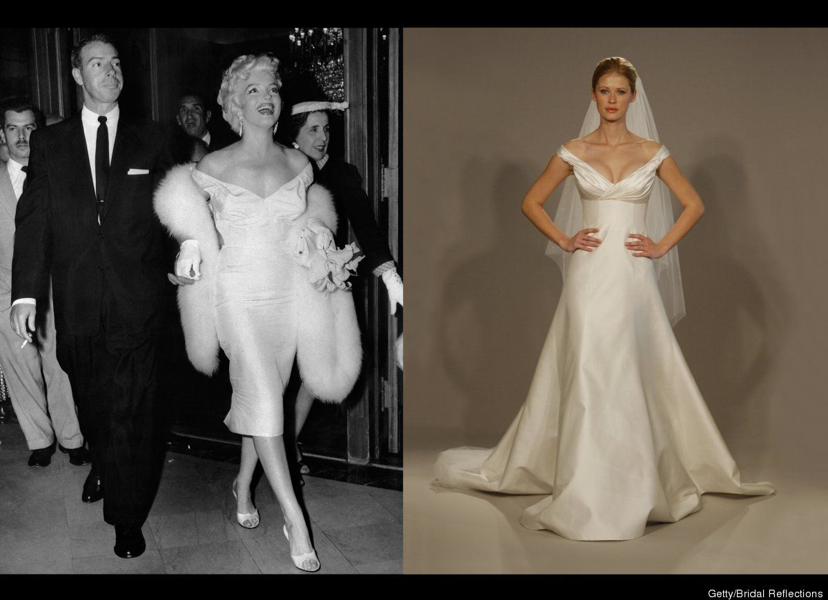Marilyn Monroe Dresses 5 Blond Bombshell Inspired Wedding Gowns The Huffingt Celebrity Wedding Dresses Sweetheart Wedding Dress Cheap Wedding Dresses Online