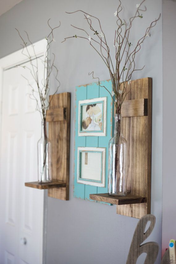 TWO Wine Bottle Wall Sconce/Wall Sconce/Candle Sconce ...