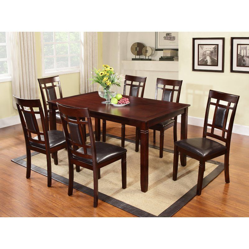 Kadalynn 7 Piece Dining Set Solid Wood Dining Table Rectangular Dining Set Dining Room Sets