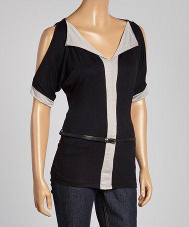 Look at this #zulilyfind! Black & White Cutout Belted Top - Women #zulilyfinds