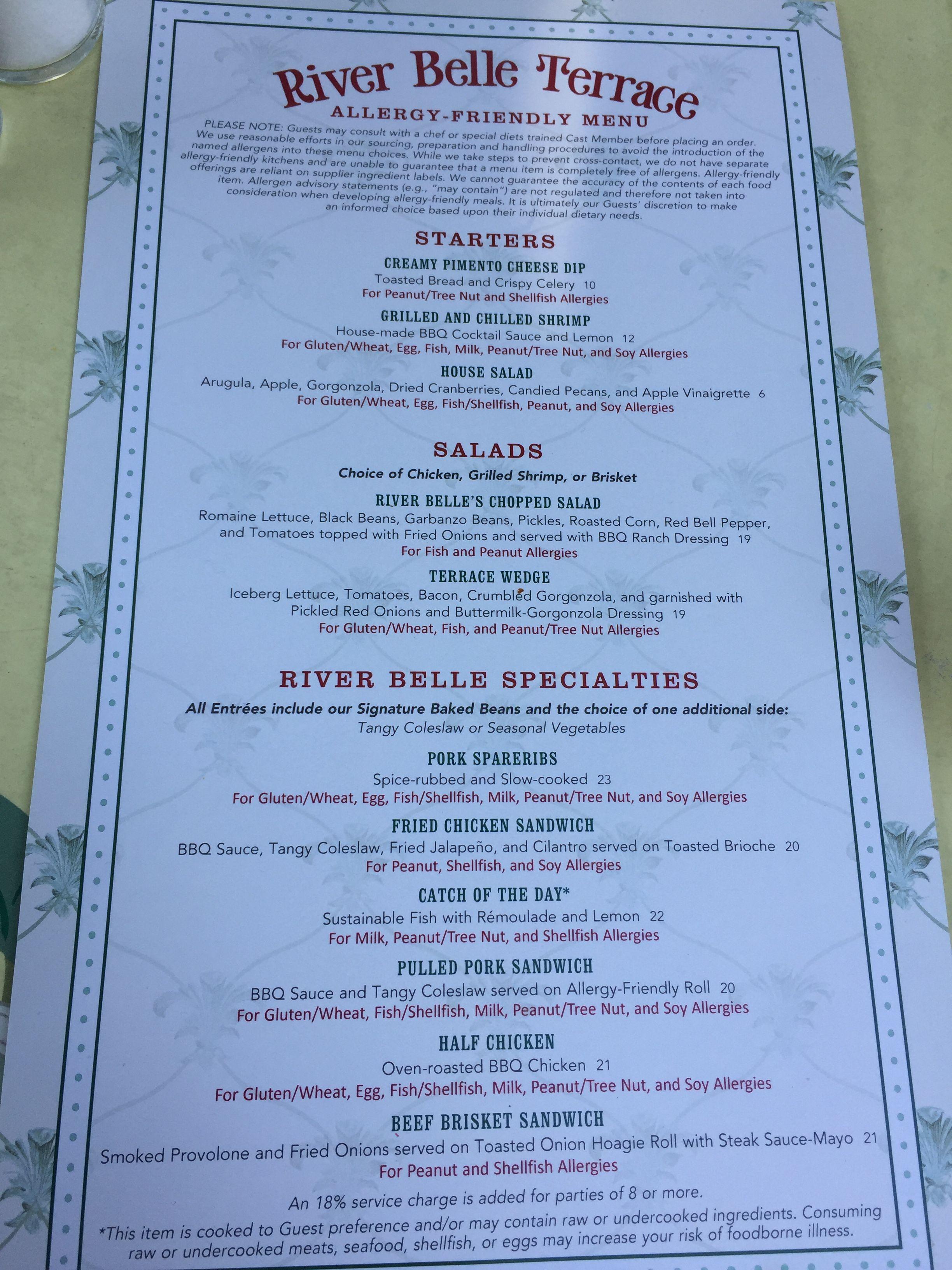 Disneyland River Belle Terrace Allergy Menu | Gluten free ...
