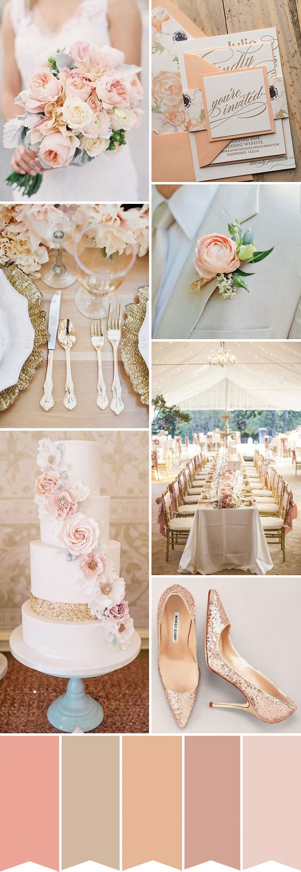 How To Create A Sparkling Peach And Gold Wedding Palette // Www.onefabday.