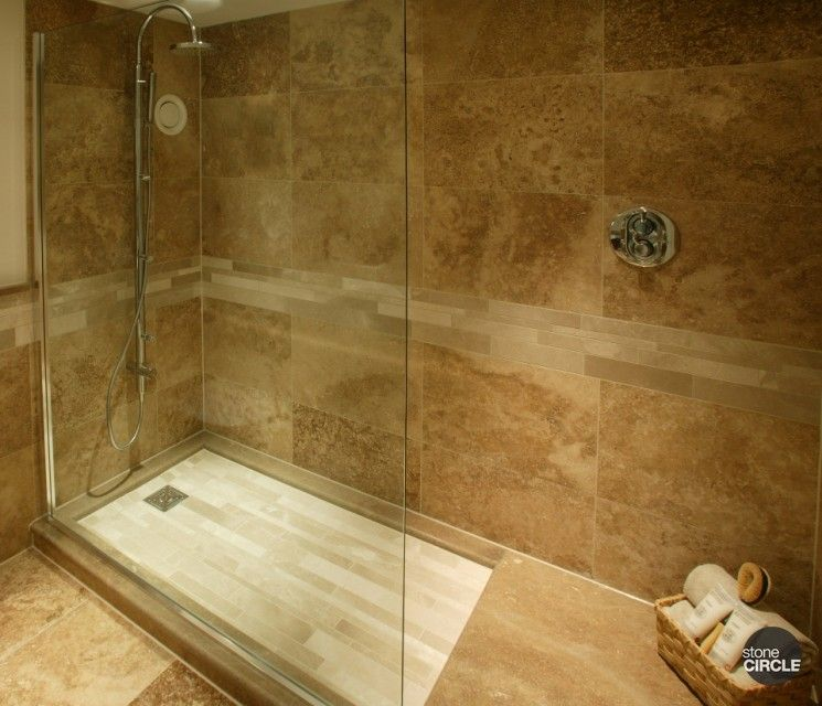 Large slate tile for shower walnut travertine tiles for Travertine tile bathroom gallery