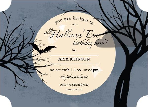 Full Moon Online Halloween Birthday Invitation Halloween Halloween Birthday Invitations Birthday Halloween Party Halloween Birthday