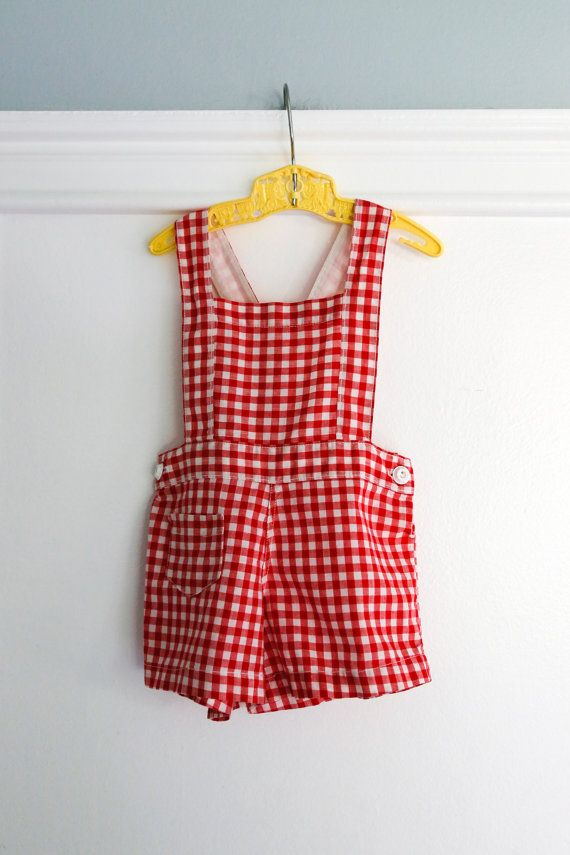 fdb9ac705116 12 Months  1950s Red Gingham Sunsuit Romper Red and by Petitpoesy ...