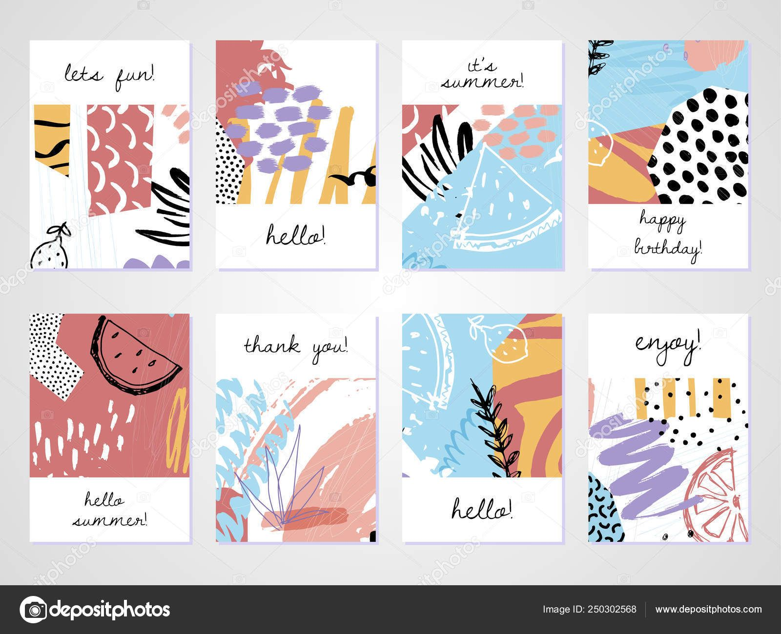 Creative Tropical Summer Cards Trendy Style Collage Hand In Birthday Card Collage Template Cumed Org Collage Template Card Template Visiting Card Templates