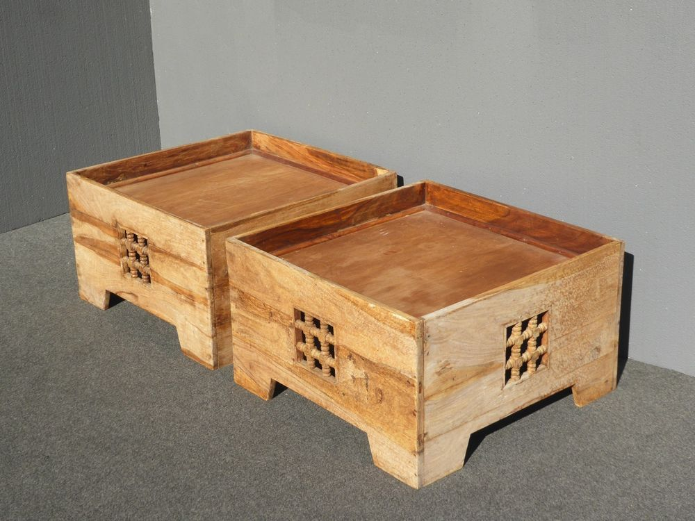 Pair Teak Asian Style Bo Can Be Used As Coffee Table End Tables Or Ottomans