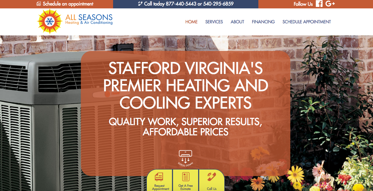The Childress Agency Creative Team Completed A Full Custom Website For All Seasons Heating Agency Website Design Website Design Services Custom Website Design
