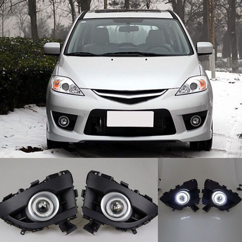 2pcs White Led Original Daytime Running Lights Front Fog Lamp Drl For Mazda 5 2006 2007 2008 2009 2010 Mazda Car Lights Headlight Bulbs