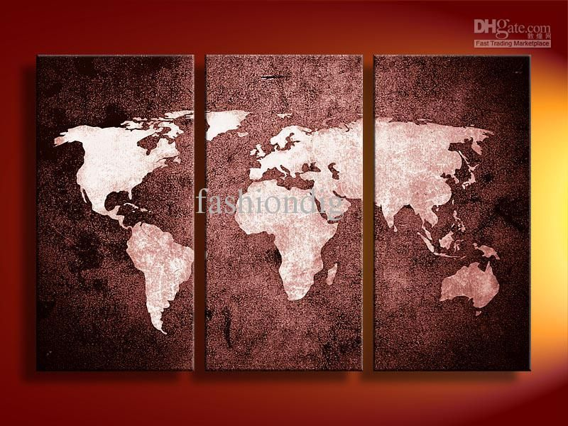 Superior Best Oil Painting Canvas Abstract World Map Artwork Handmade Home Office  Decoration Wall Art Decor Gift