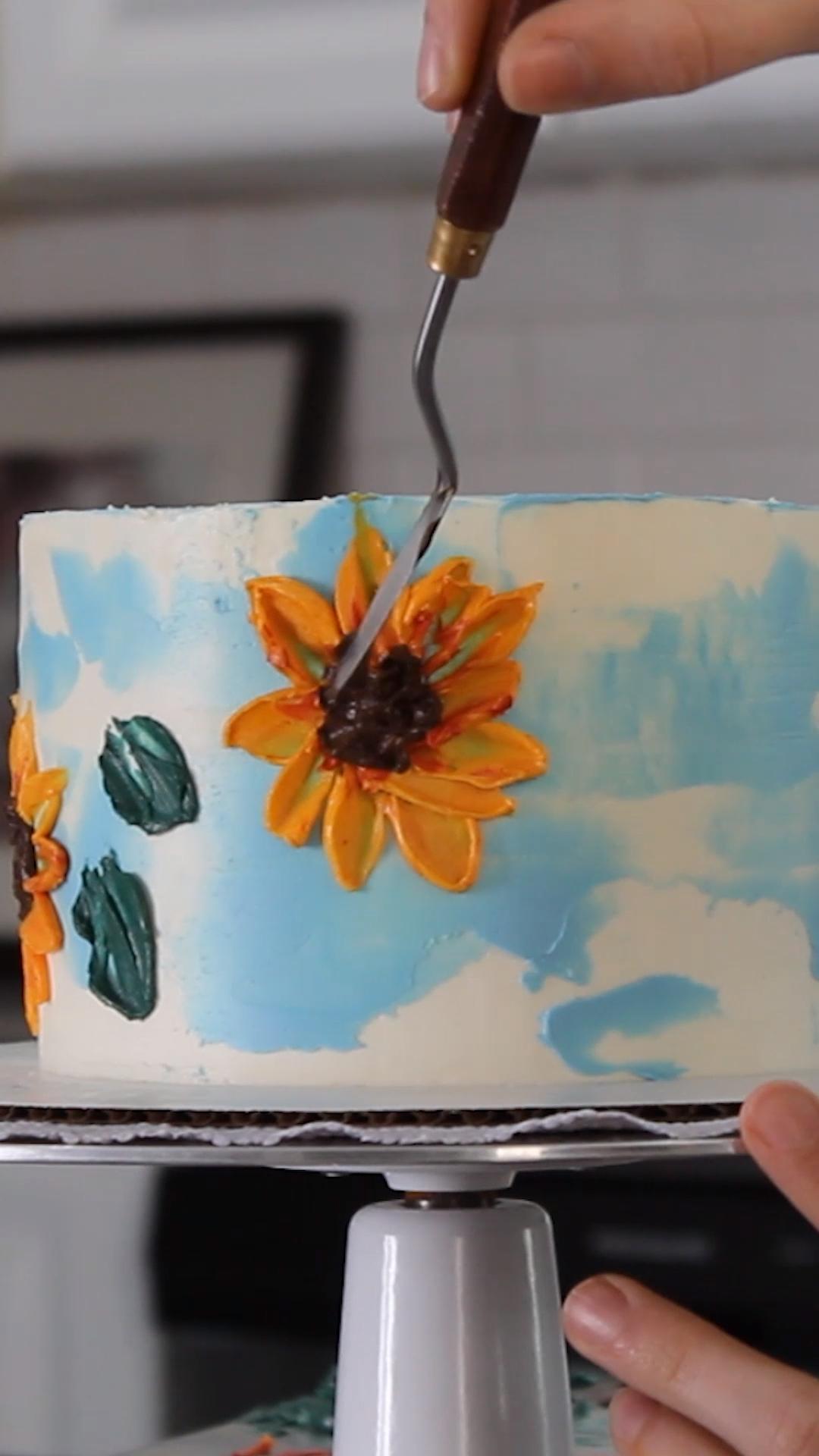 Buttercream Sunflower Painted Cake | Baking Butterly Love