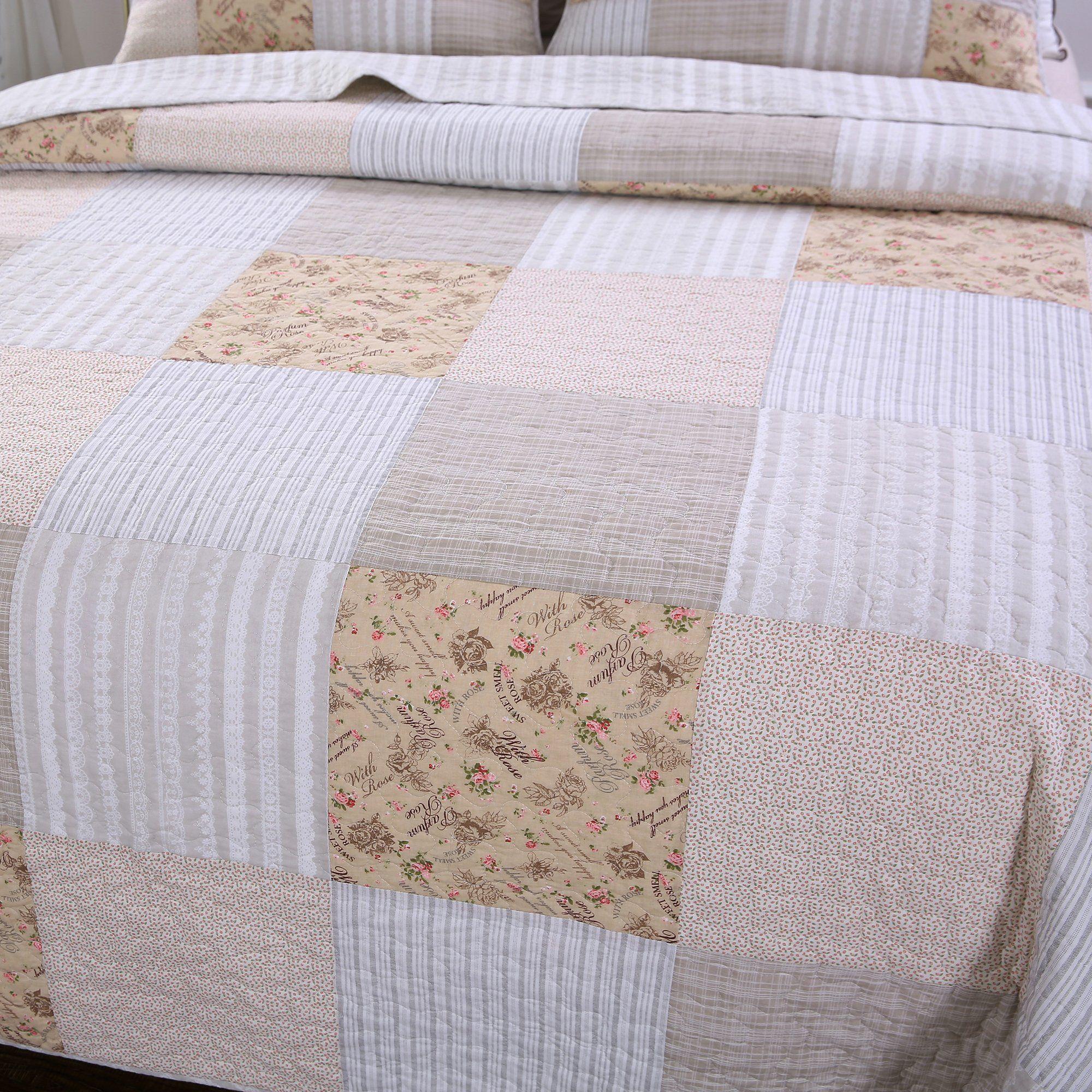 Slpr Country Lane 3 Piece Real Patchwork Cotton Quilt Set Queen