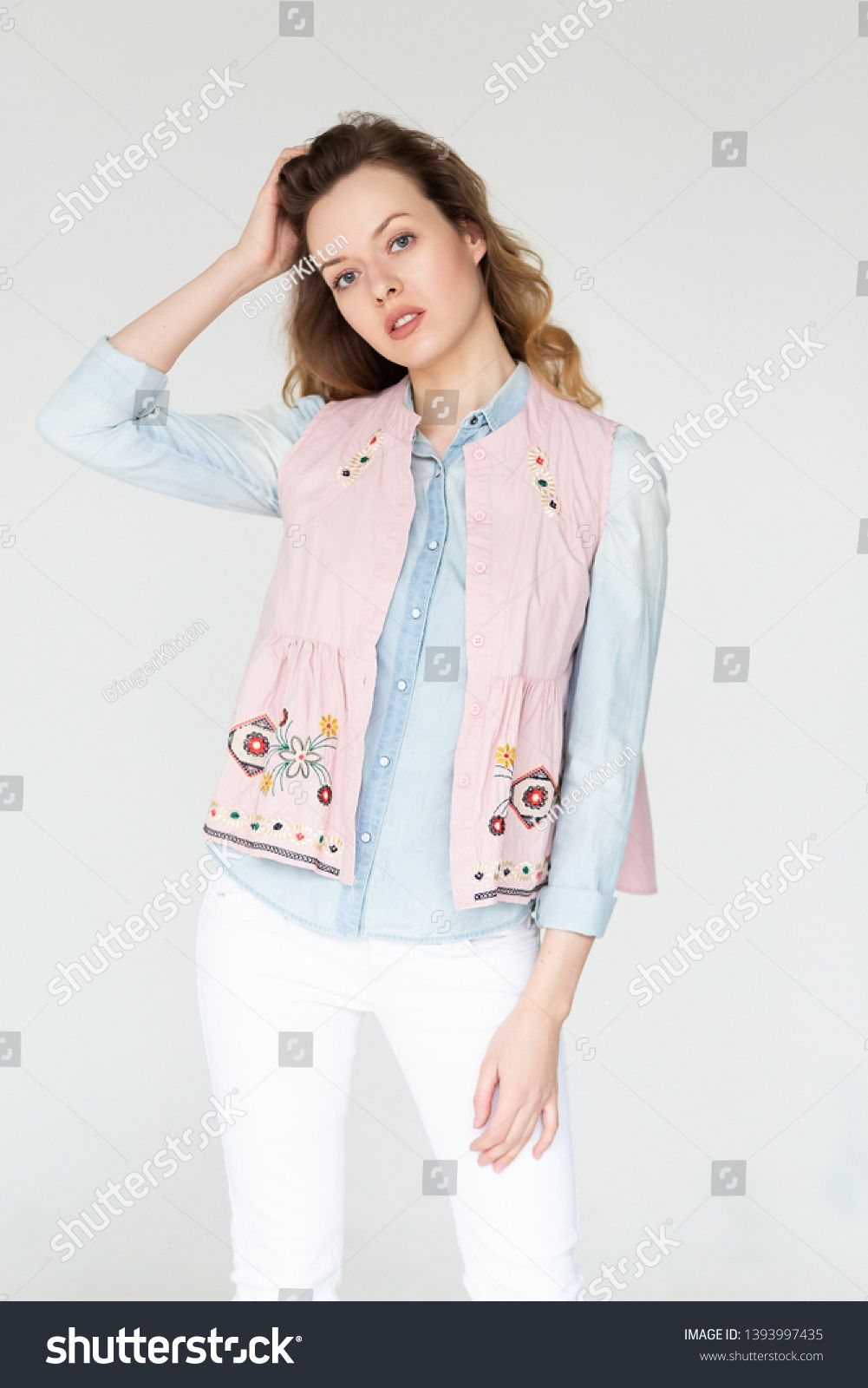 Beautiful Fashion Model Woman With A Casual Hair Style Dressed In Vintage Boho Style Clothes On A Whi Vintage Boho Fashion Casual Hairstyles Boho Style Outfits
